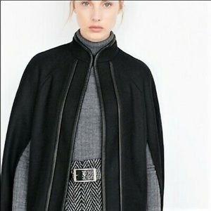 NWOT Zara black wool blend vegan leather trim cape